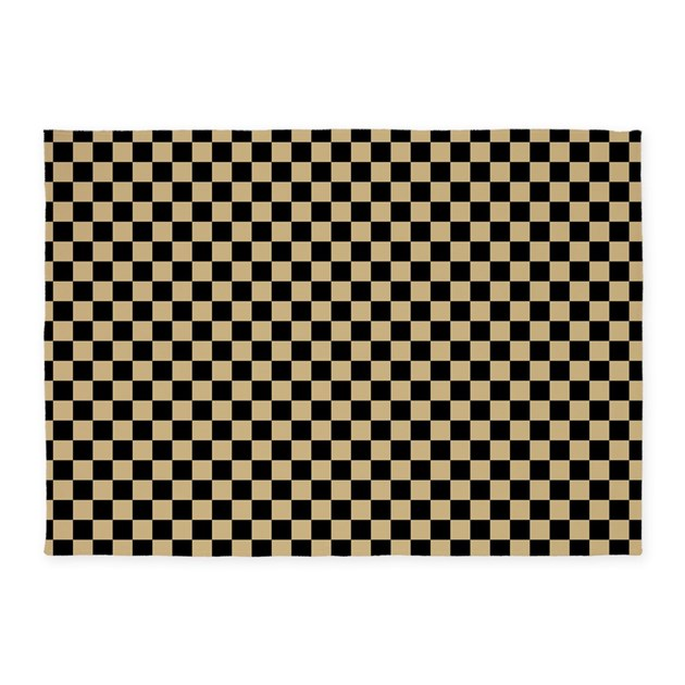 Black and gold Checkered 5'x7'Area Rug by zenchic