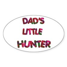 Dads Little Hunter pinks Oval Decal