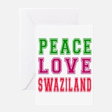 Peace Love Swaziland Greeting Card