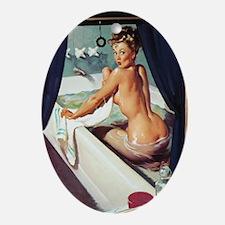 Window Bathing Beauty Pinup Oval Ornament