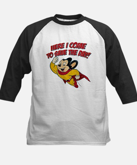 Here I Come to Save the Day Kids Baseball Jersey