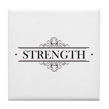 Strength Calligraphy Tile Coaster