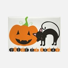 Trick Or Treat Pumpkin and Black  Rectangle Magnet