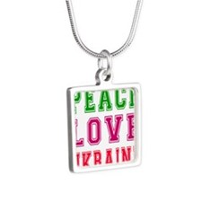 Peace Love Ukraine Silver Square Necklace