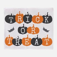 Trick Or Treat Pumpkin and Bats Throw Blanket