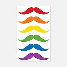 Rainbow Mustaches Sticker (Rectangle)