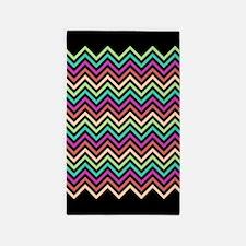 Colorful Chevron Black 3'x5' Area Rug