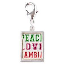 Peace Love Zambia Silver Portrait Charm