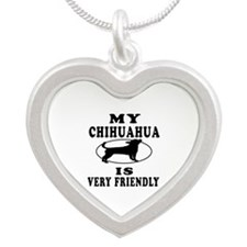 My Chihuahua Is Very Friendly Silver Heart Necklac