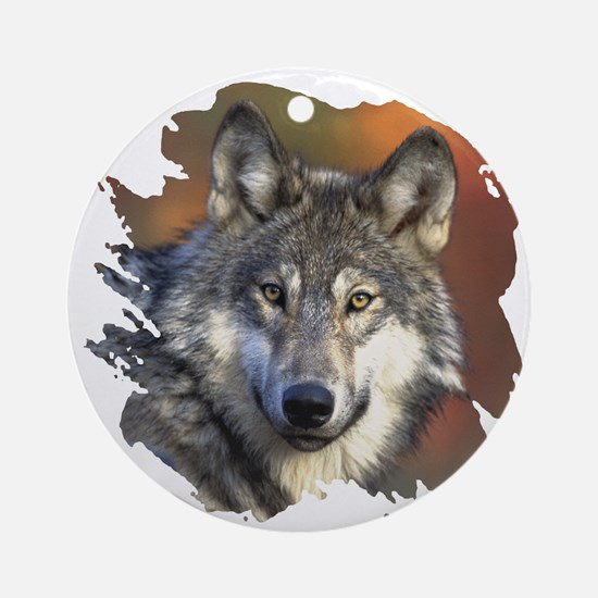 Gray Wolf Ornament (Round)