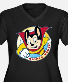 Mighty Mouse Women's Dark Plus Size V-Neck T-Shirt