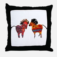 Colorful Totem Ponies Throw Pillow