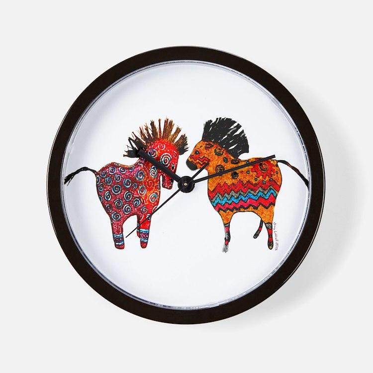 Colorful Totem Ponies Wall Clock