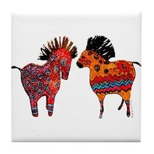 Colorful Totem Ponies Tile Coaster