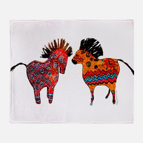 Colorful Totem Ponies Throw Blanket
