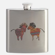 Colorful Totem Ponies Flask