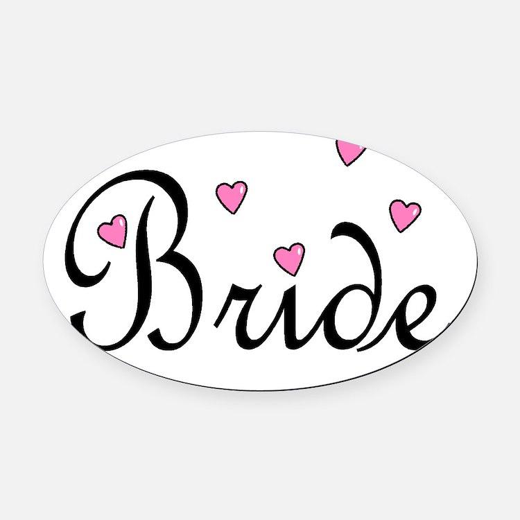 Bride (Pink Hearts) Oval Car Magnet