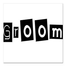 "Groom (Black Square) Square Car Magnet 3"" x 3"""