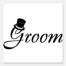 "Groom (Top Hat) Square Car Magnet 3"" x 3"""