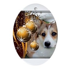 Holiday Sable Corgi Ornament (Oval)