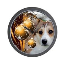 Holiday Sable Corgi Wall Clock