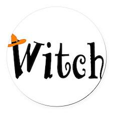 Witch (Orange Hat) Round Car Magnet