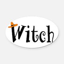 Witch (Orange Hat) Oval Car Magnet