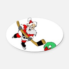Hockey Santa Oval Car Magnet