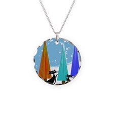 whimsical cats christmas trees Necklace