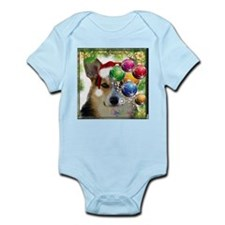 Handsome Holiday Corgi with Bulbs Body Suit