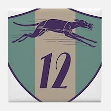 Graphic Racing Greyhound Dog Shield Number 12 Tile