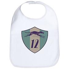 Graphic Racing Greyhound Dog Shield Number 12 Bib