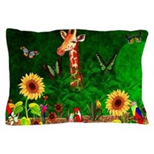 Giraffe In Garden Pillow Case