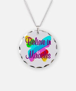 BELIEVE IN MIRACLES Necklace Circle Charm
