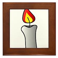 White Burning Candle Framed Tile