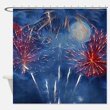 Fractal Fireworks Shower Curtain