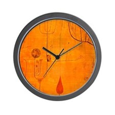Fruits on Red, Paul Klee painting Wall Clock