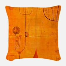 Fruits on Red, Paul Klee paint Woven Throw Pillow