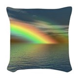 Clouds and rainbows Throw Pillows