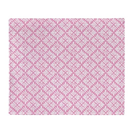 light pink square floral pattern throw blanket by zandiepantshomedecor. Black Bedroom Furniture Sets. Home Design Ideas