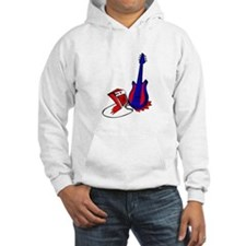 guitar stylized fill blue red Hoodie