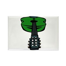 acoustic guitar head on green Magnets