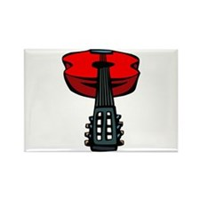 acoustic guitar head on red Magnets