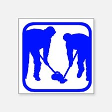 "Curling Players Square Sticker 3"" x 3"""