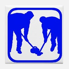 Curling Players Tile Coaster