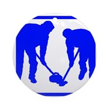Curling Players Round Ornament