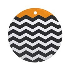 Orange Black and white Chevron Ornament (Round)