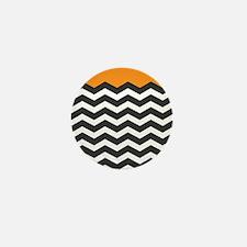 Orange Black and white Chevron Mini Button