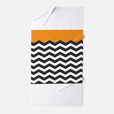 Orange Black and white Chevron Beach Towel