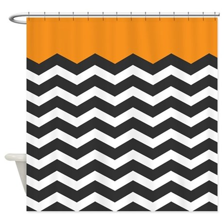 Orange Black And White Chevron Shower Curtain By Admin CP49789583